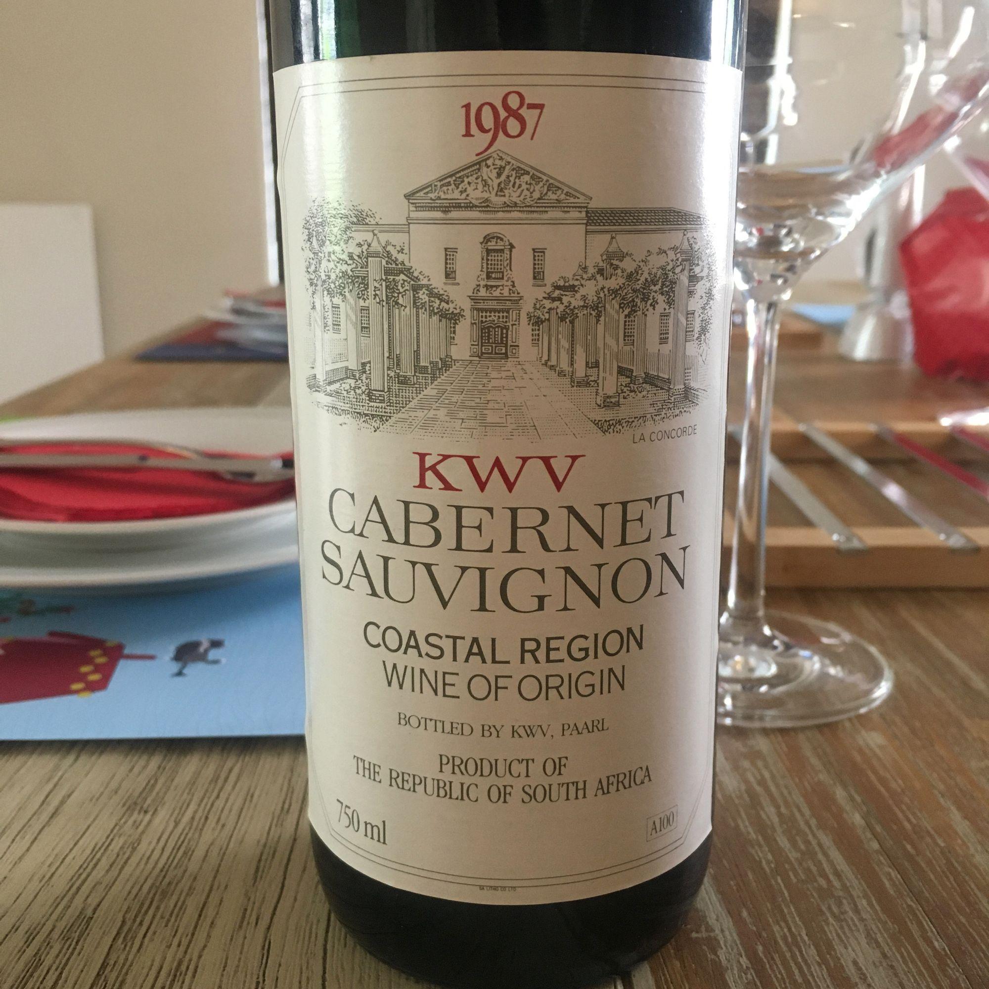 1987 KWV Cabernet Sauvignon enjoyed in 2019