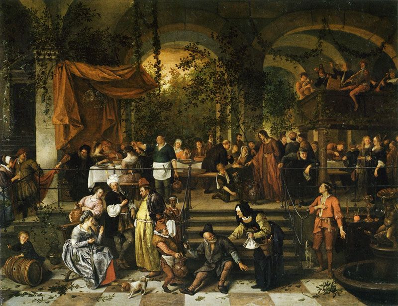 Wedding Feast at Cana - Jan Steen c.1670 - 1672 - this image shows a wine barrel in the bottom left corner, and a servant offering wine from a ceramic server
