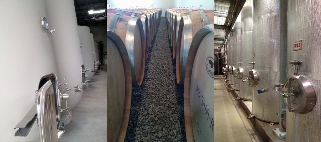 Common vessels for fermenting wine: Concrete tanks, oak barrels, and stainless steel tanks