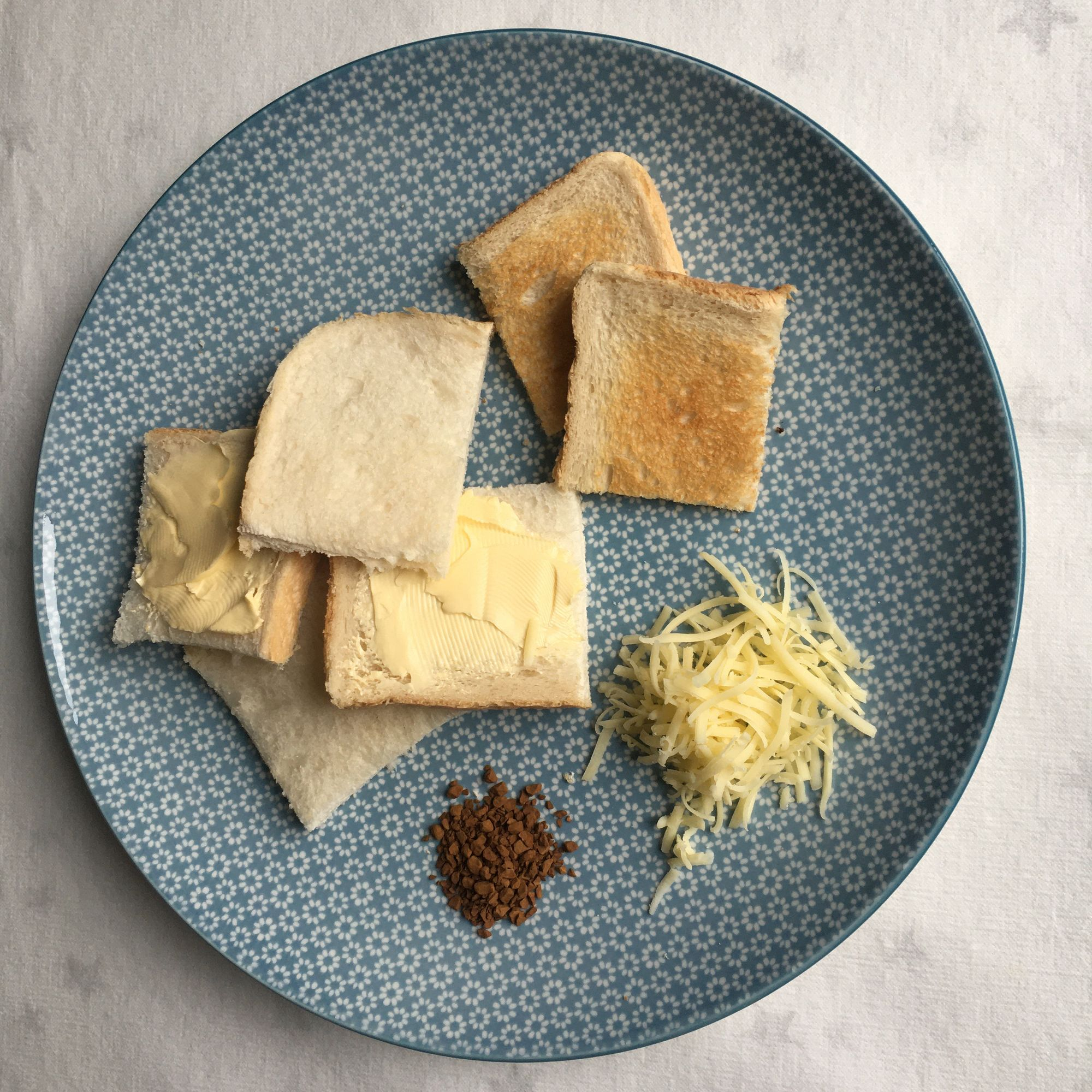 Plate with Secondary Aroma objects - bread, butter, toast, cheese, coffee