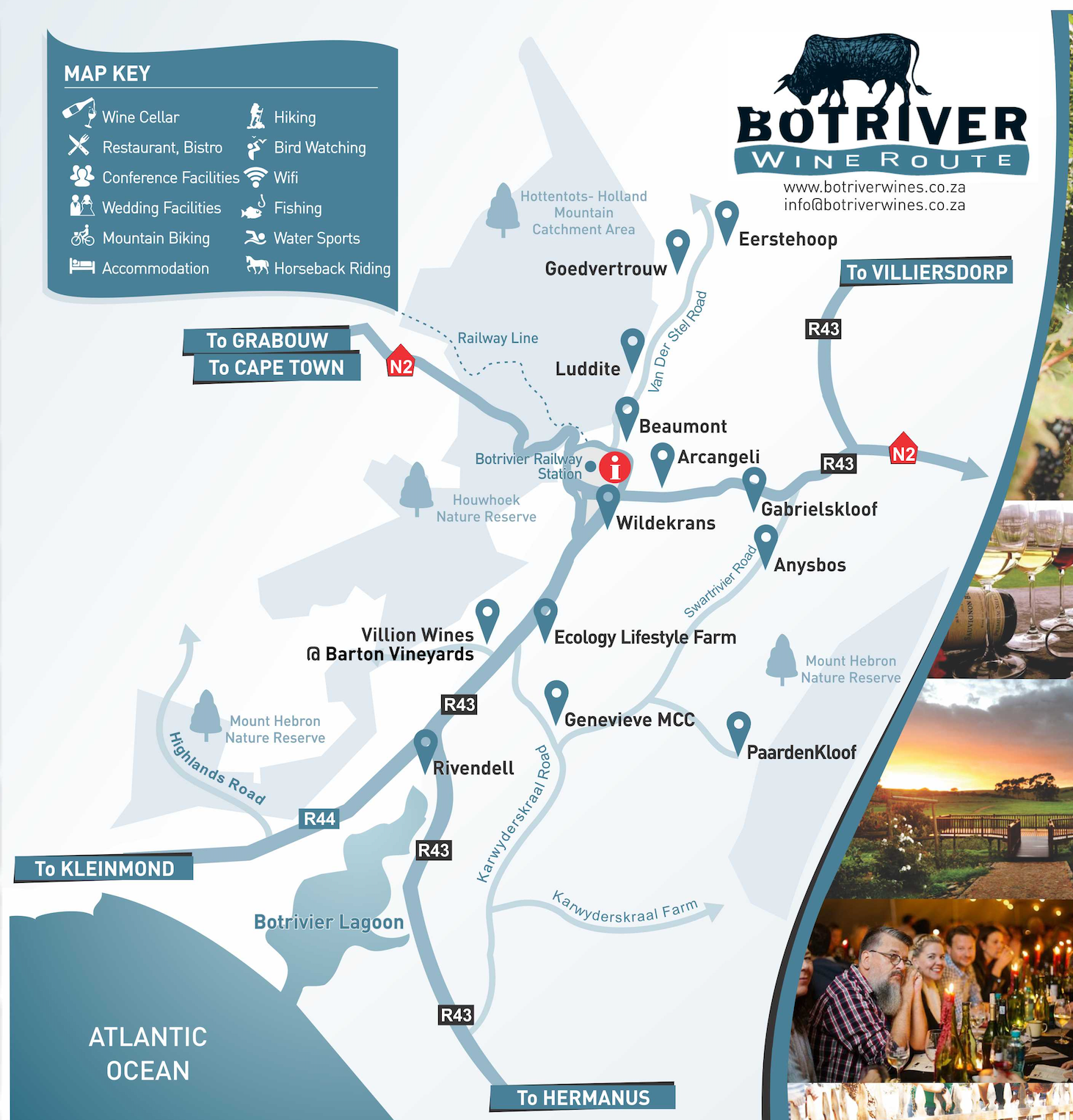 Map of Bot River Wine Route