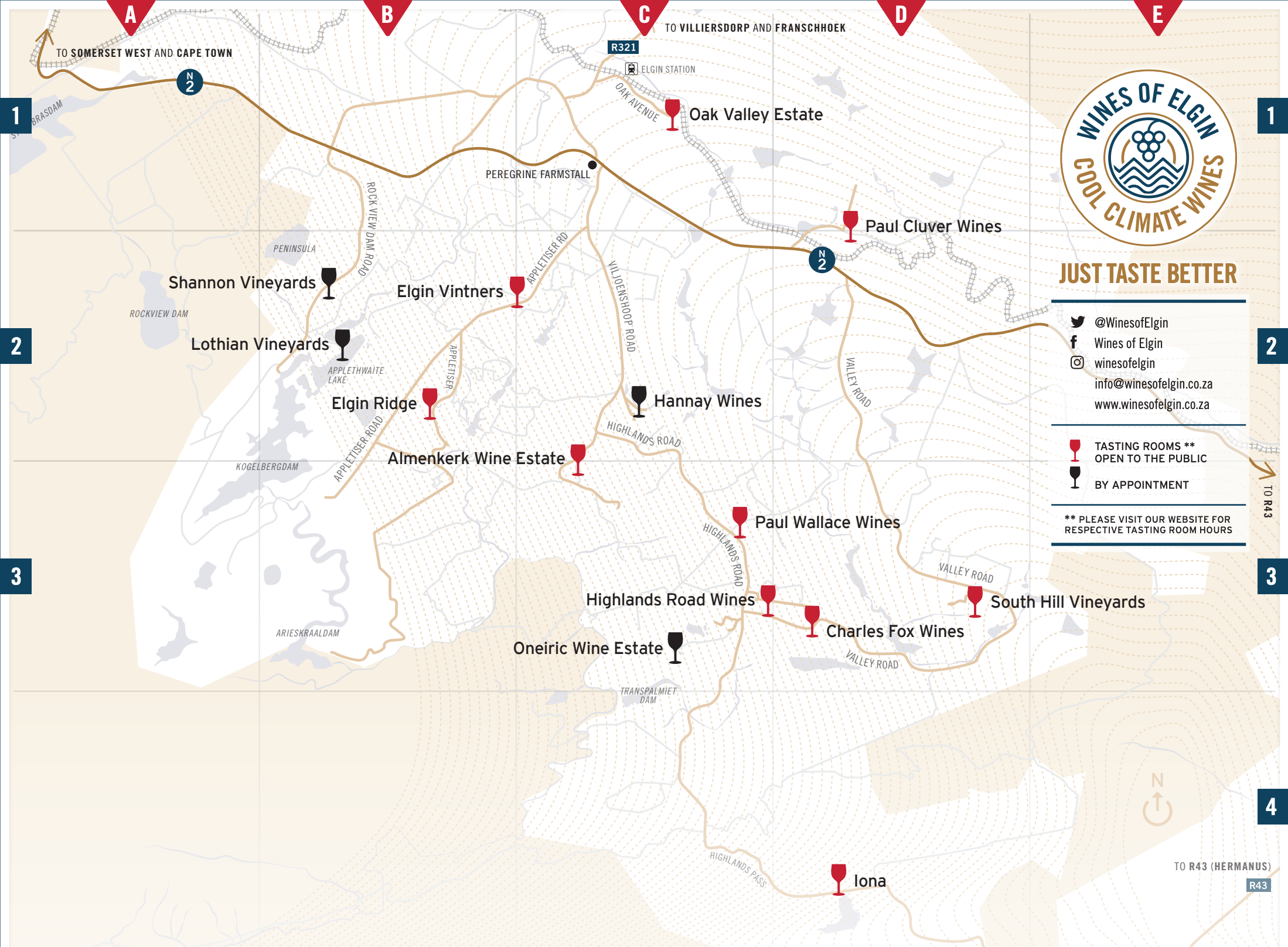 Wines of Elgin Wine Route Map