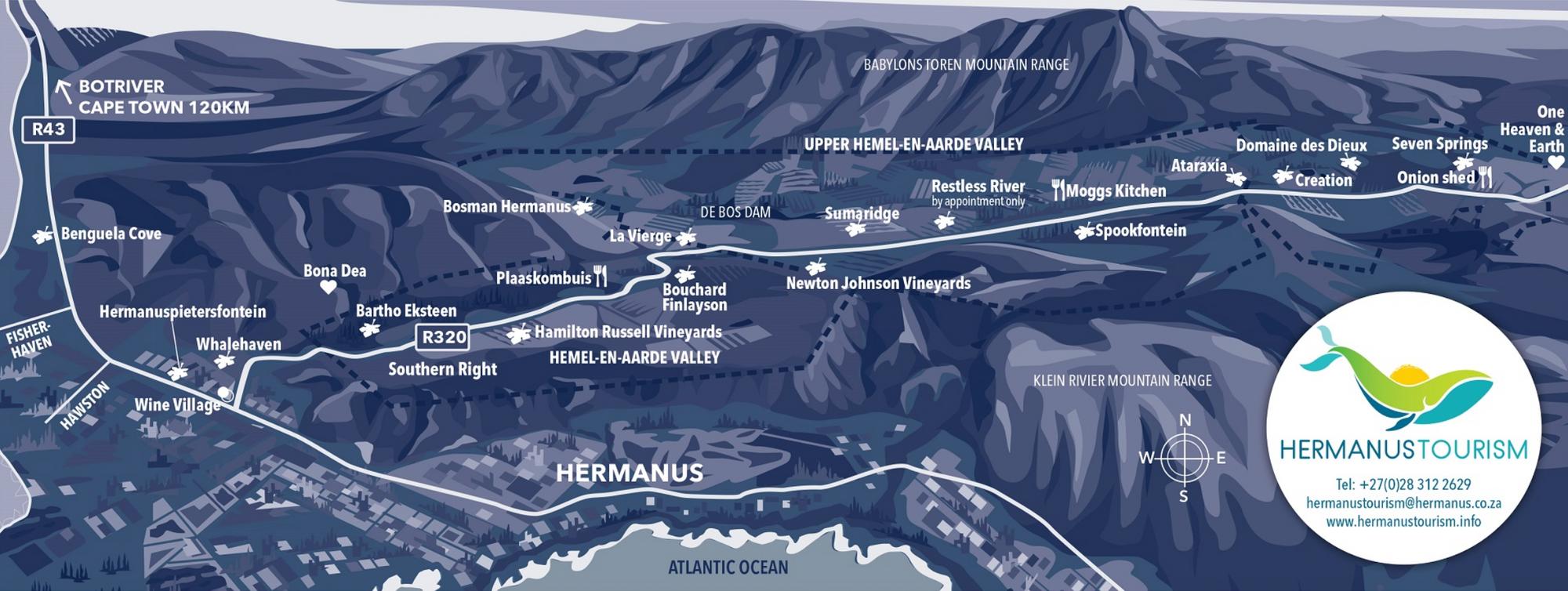 Map of Hemel-en-Aarde Wine Route