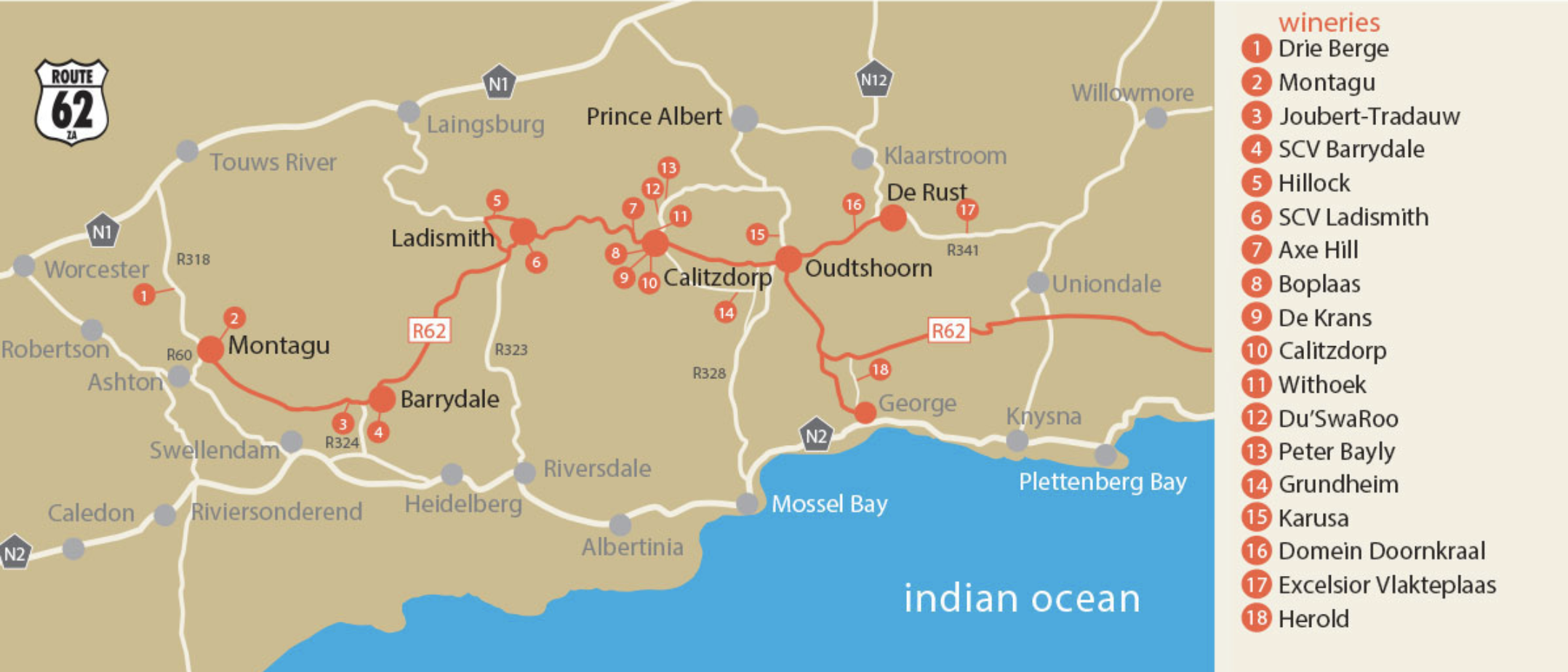 Map of The Klein Karoo Wine Route
