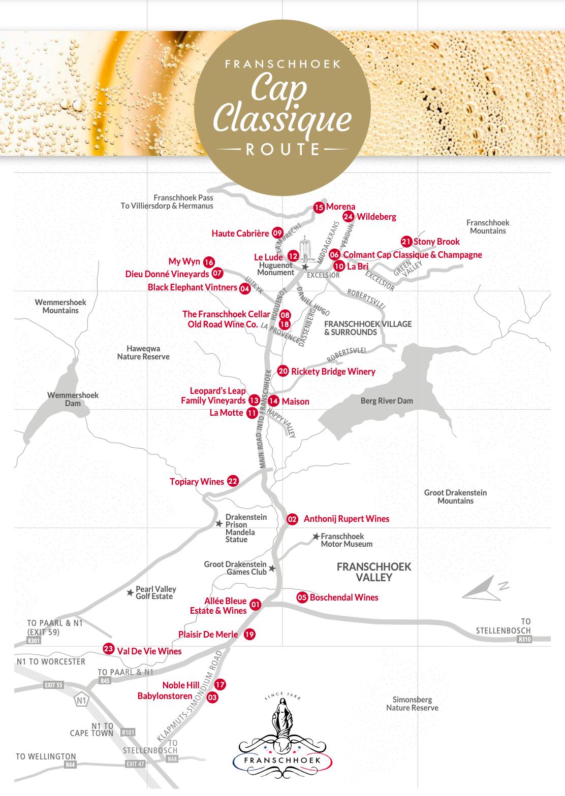 Franschhoek Cap Classique Route Map