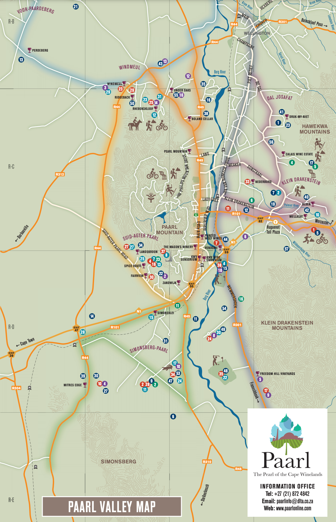 Map of the Paarl Wine Route