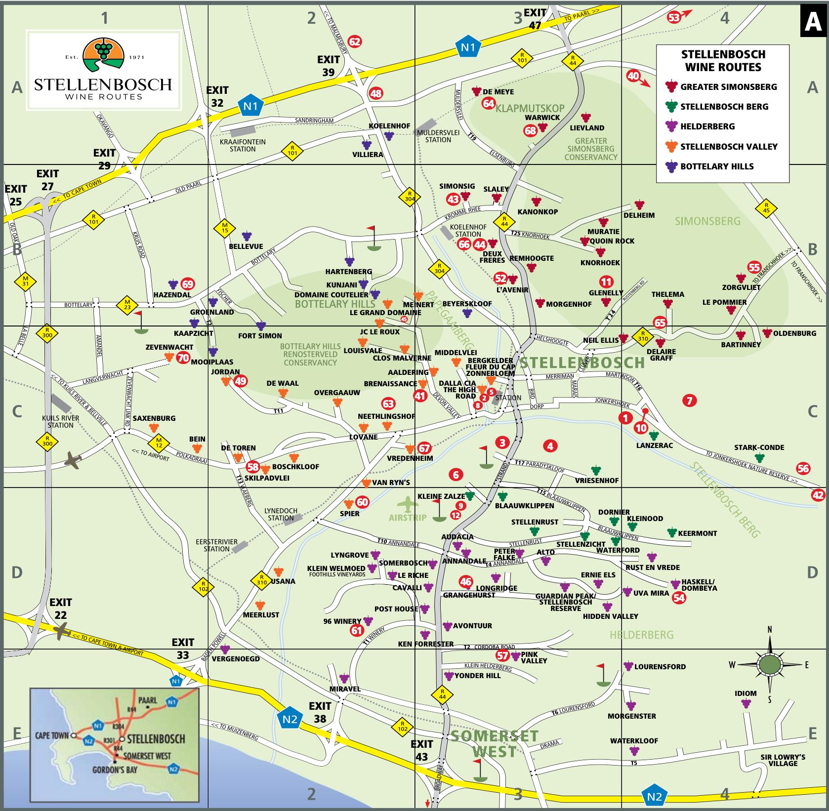 Map of Stellenbosch Wine Routes