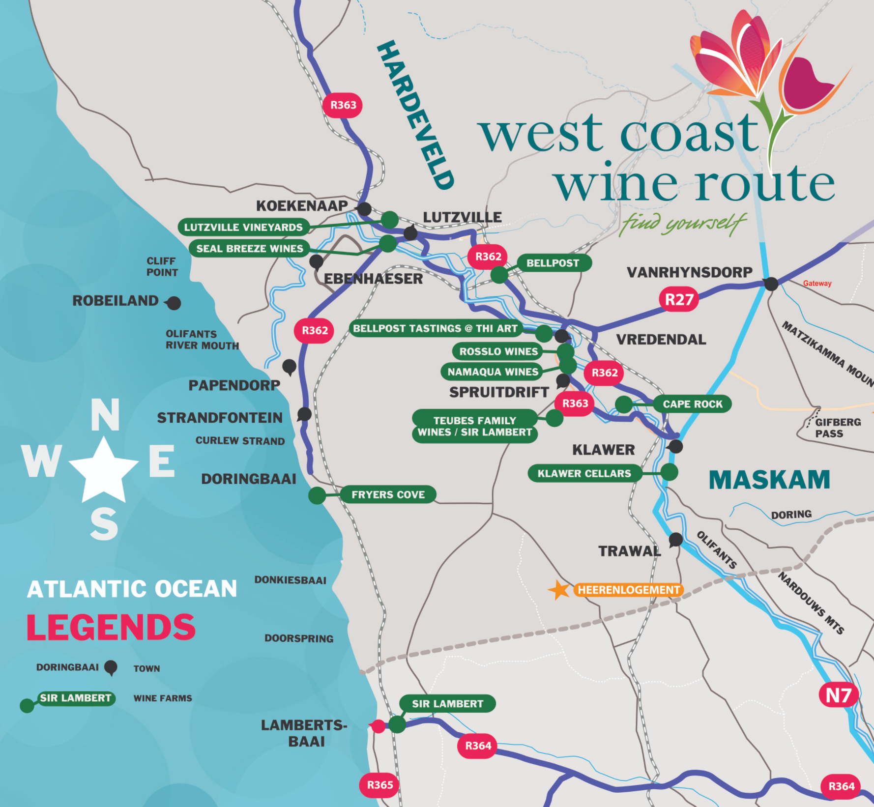 Map of West Coast Wine Route