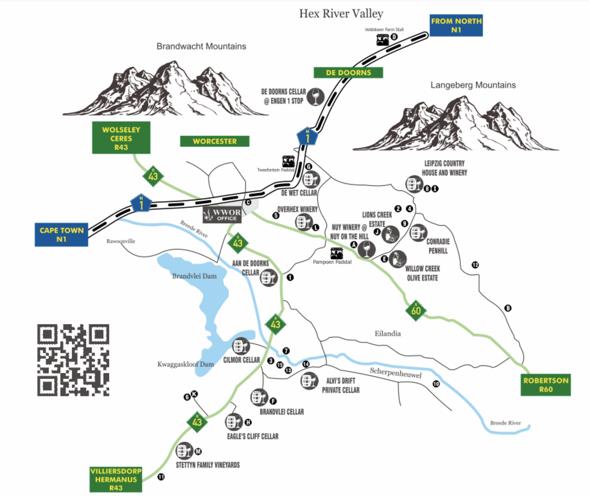 Map of Worcester Wine & Olive Route